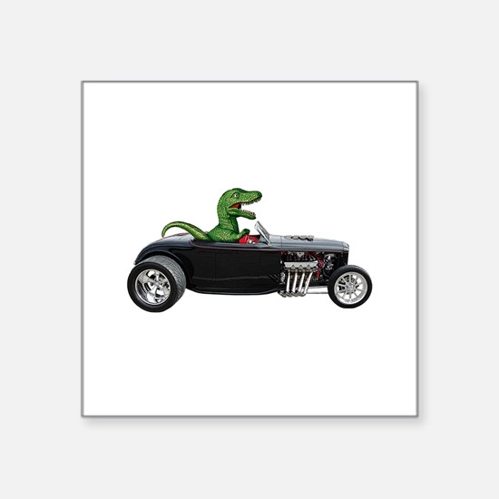 "T-rex Hot Rod Square Sticker 3"" x 3"""