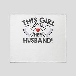 this girl loves her husband Throw Blanket