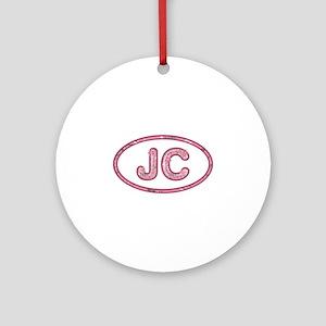 JC Pink Round Ornament
