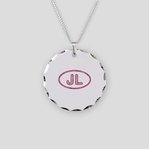 JL Pink Necklace Circle Charm