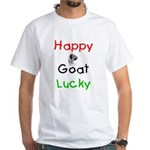 Happy Goat Lucky White T-Shirt