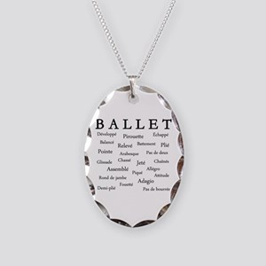Ballet Words Necklace Oval Charm