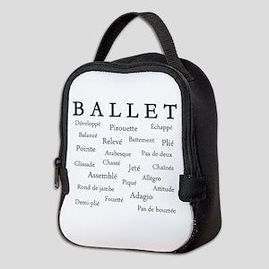 Ballet Words Neoprene Lunch Bag