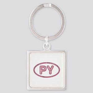 PY Pink Square Keychain