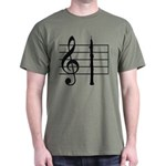 Oboe on Treble Clef Staff Dark T-Shirt