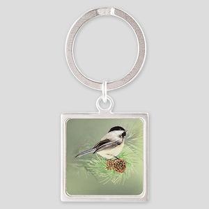 Watercolor Chickadee Bird in pine tree Keychains