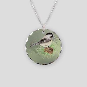 Watercolor Chickadee Bird in pine tree Necklace Ci