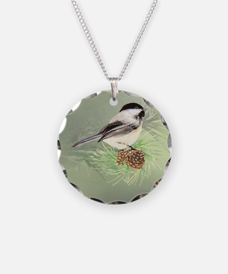 Watercolor Chickadee Bird in pine tree Necklace
