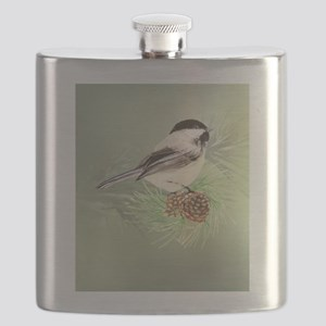 Watercolor Chickadee Bird in pine tree Flask