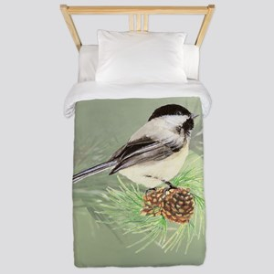 Watercolor Chickadee Bird in pine tree Twin Duvet