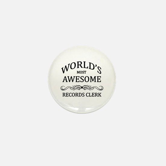 World's Most Awesome Records Clerk Mini Button