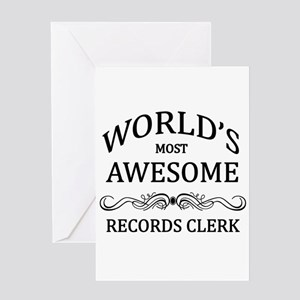 World's Most Awesome Records Clerk Greeting Card