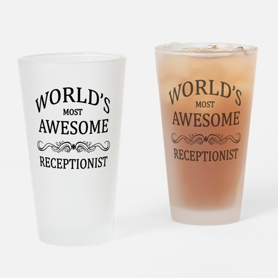 World's Most Awesome Receptionist Drinking Glass