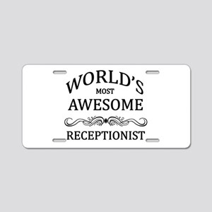 World's Most Awesome Receptionist Aluminum License