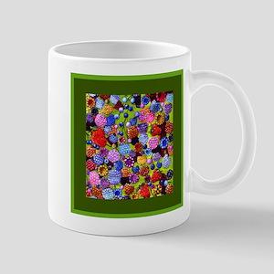 berries square green border Mugs
