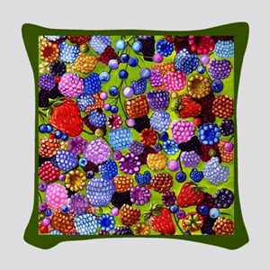 berries square green border Woven Throw Pillow