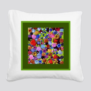 berries square green border Square Canvas Pillow