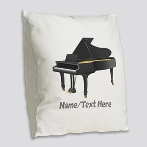 Piano Personalized Burlap Throw Pillow