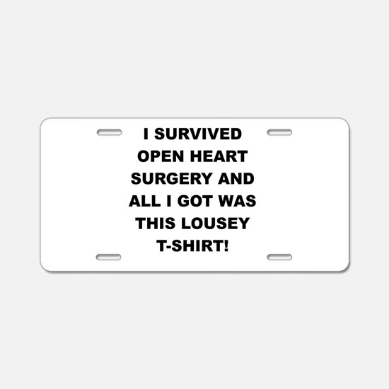 I SURVIVED HEART SURGERY Aluminum License Plate