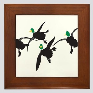 Flying Mallard Ducks Framed Tile