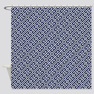 Blue Greek Key Pattern Shower Curtain
