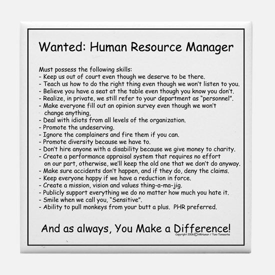 Wanted: HR Manager Tile Coaster