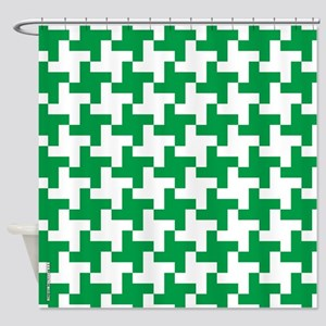 Retro Houndstooth Vintage Green Shower Curtain