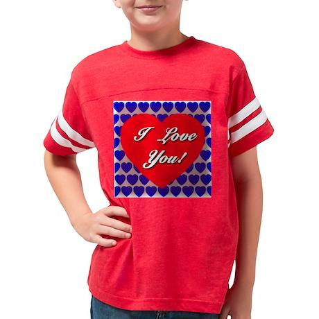 i_love_you_layered_redheart Youth Football Shirt
