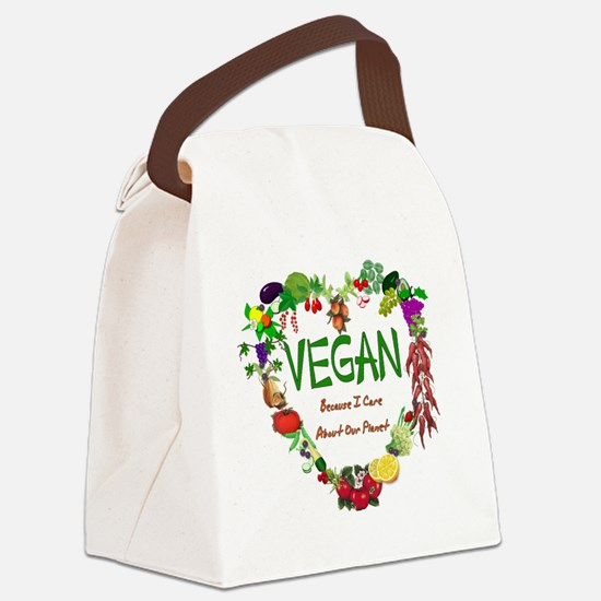Vegan Heart Canvas Lunch Bag