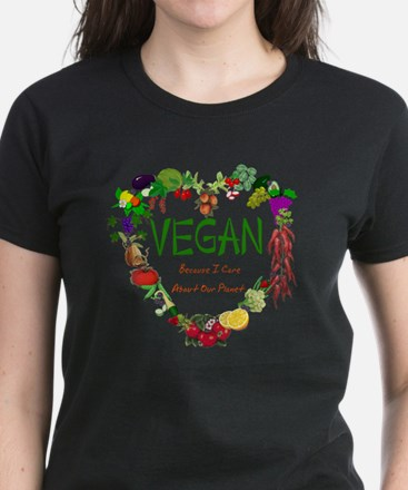 Vegan Heart Women's Dark T-Shirt
