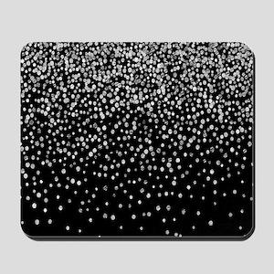 Black & Glam Silver Glitter Confetti Mousepad