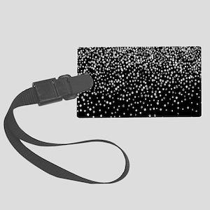 Black & Glam Silver Glitter Large Luggage Tag