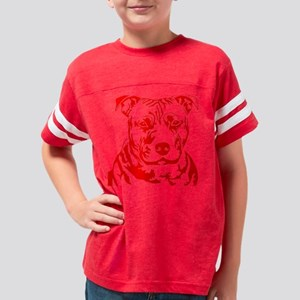 PIT BULL HEAD RED Youth Football Shirt