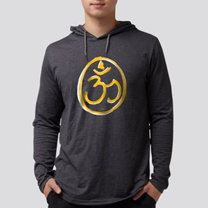 Yellow and White Aum Mens Hooded Shirt