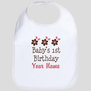 Personalized 1st Birthday flowered Bib