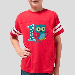Cute First Birthday Owl Youth Football Shirt