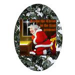 'Santa knelt' Oval Ornament
