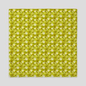 Tropical Floral Tiki Green Queen Duvet