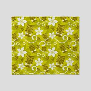 Tropical Floral Tiki Green Throw Blanket