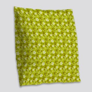 Tropical Floral Tiki Green Burlap Throw Pillow