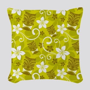Tropical Floral Tiki Green Woven Throw Pillow