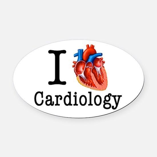 I love Cardiology Oval Car Magnet