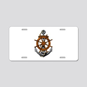 Ship Wheel And Anchor Aluminum License Plate