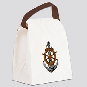 Ship Wheel And Anchor Canvas Lunch Bag
