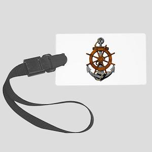 Ship Wheel And Anchor Luggage Tag