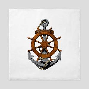 Ship Wheel And Anchor Queen Duvet