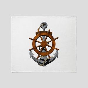 Ship Wheel And Anchor Throw Blanket