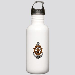 Ship Wheel And Anchor Water Bottle