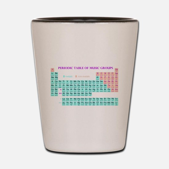 Periodic Table of Music Groups Shot Glass