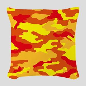 Camouflage (Orange/ Fire) Woven Throw Pillow